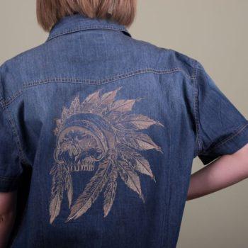 Машинна вишивка на джинсі2